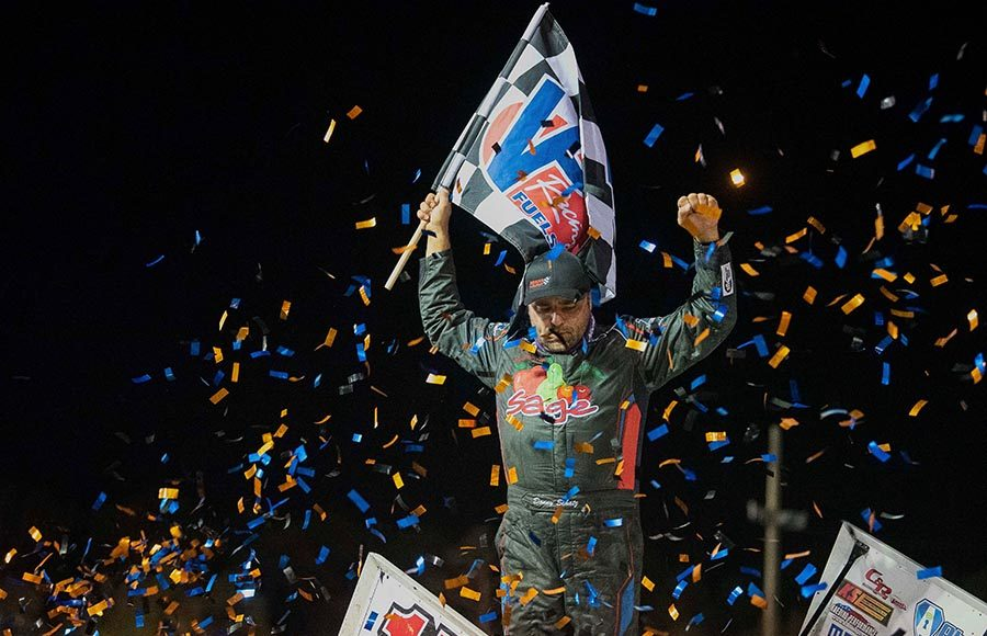 Donny Schatz celebrates in victory lane after winning Friday's World of Outlaws NOS Energy Drink Sprint Car Series main event at Volusia Speedway Park. (Shawn Cooper Photo)
