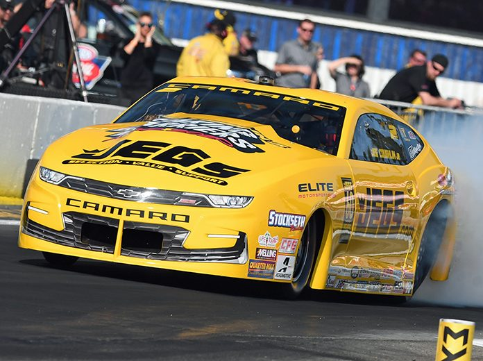 Jeg Coughlin Jr. topped the Pro Stock qualifying charts at the Winternationals on Saturday. (Steve Himelstein Photo)