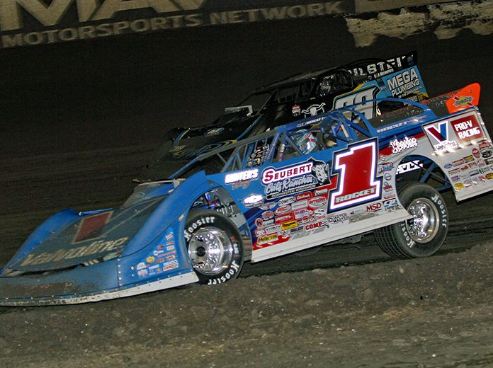 Brandon Sheppard (1) raced to victory in Saturday's Lucas Oil Late Model Dirt Series Winternationals finale at East Bay Raceway Park. (Jim Denhamer Photo)
