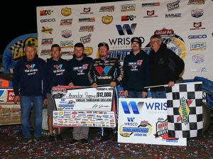 Brandon Sheppard and his crew in victory lane at East Bay Raceway Park. (Mike Ruefer Photo)