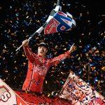 Logan Schuchart celebrates his victory on Sunday evening at Volusia Speedway Park. (Shawn Cooper Photo)