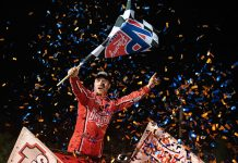 Logan Schuchart celebrates his victory on Sunday evening at Volusia Speedway Park. (Shawn Cooper Photo)