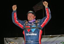 Brandon Sheppard in victory lane. (Jim DenHamer photo)