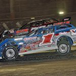 Brandon Sheppard (1) won Wednesday's World of Outlaws Morton Buildings Late Model Series victory at Volusia Speedway Park. (Jim DenHamer photo)