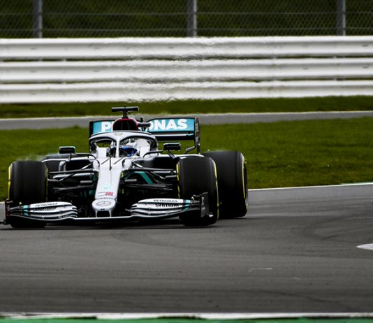 The new Mercedes-AMG F1 W11 EQ Performance on track Friday at the Silverstone Circuit. (Mercedes Photo)