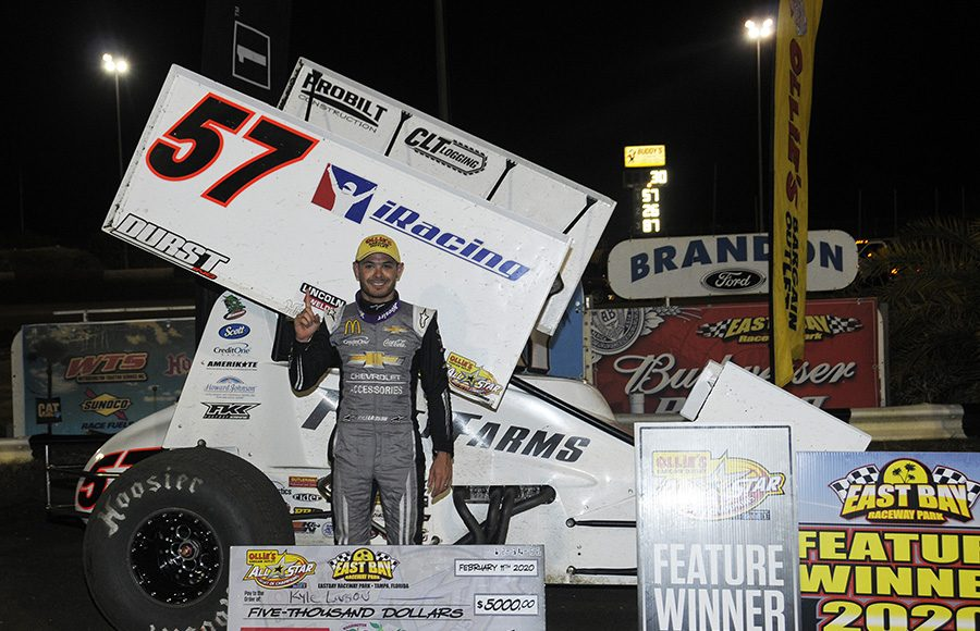 Kyle Larson poses in victory lane after winning Tuesday's Ollie's Bargain Outlet All Star Circuit of Champions feature at East Bay Raceway Park. (Steve Bischoff Photo)