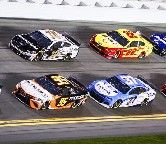 Christopher Bell (95), Aric Almirola (10), Ryan Preece (37) and Joey Logano (22) battle in the pack during the first Bluegreen Vacations Duel Thursday at Daytona Int'l Speedway. (Dave Moulthrop Photo)