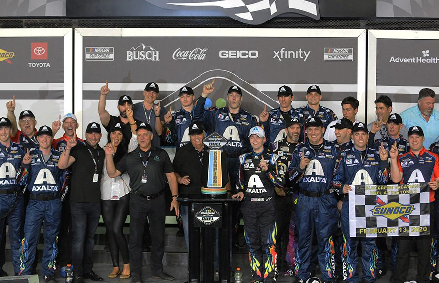 William Byron celebrates in victory lane after winning Thursday's second Bluegreen Vacations Duel at Daytona Int'l Speedway. (Dave Moulthrop Photo)