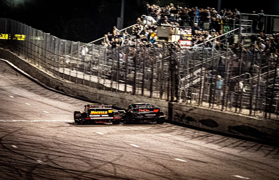 Anthony Nocella and Matt Hirschman cross the finish line in a dead heat at the end of Wednesday's John Blewett III Memorial 76 at New Smyrna Speedway. (Jason Reasin Photo)