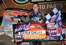 Brady Bacon in victory lane Friday night at Bubba Raceway Park. (Max Dolder Photo)
