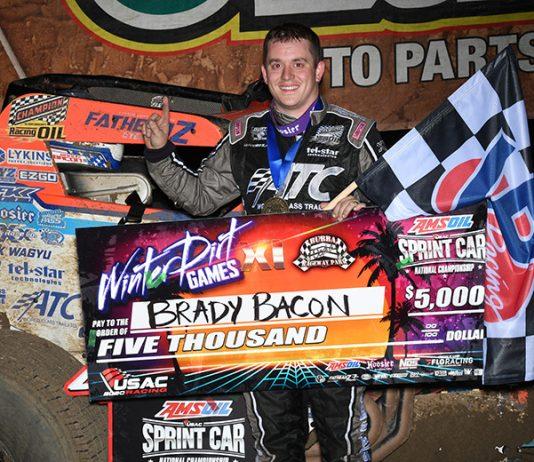 Brady Bacon in victory lane Friday night at Bubba Raceway Park. (Max Dolder Photo)