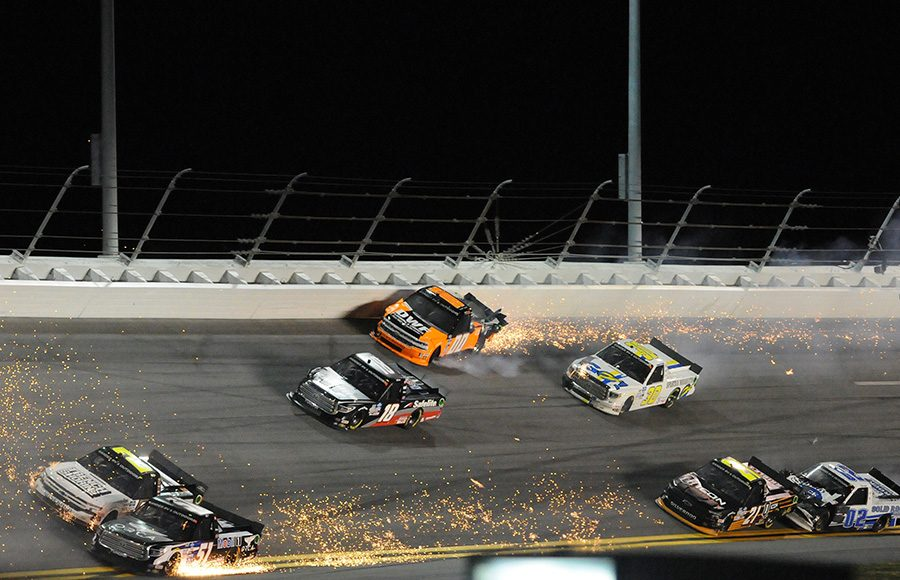 Drivers crash late in Friday's NASCAR Gander RV & Outdoors Truck Series opener at Daytona Int'l Speedway. (Dave Moulthrop Photo)