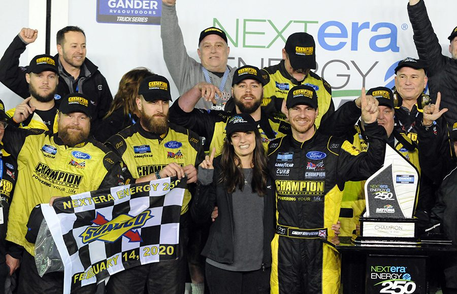 Grant Eninger poses in victory lane after winning Friday's NASCAR Gander RV & Outdoors Truck Series opener at Daytona Int'l Speedway. (Dave Moulthrop Photo)