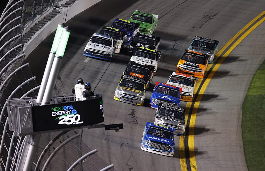 Austin Hill (16) leads the NASCAR Gander RV & Outdoors Truck Series field during Friday's opener at Daytona Int'l Speedway. (Toyota Photo)