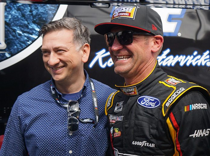 Clint Bowyer (right) poses with Medal of Honor recipient David Bellavia Saturday at Daytona Int'l Speedway. (Bruce Martin Photo)
