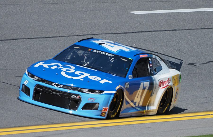 Starting from the pole in his ninth Daytona 500, Ricky Stenhouse Jr. in the No. 47 JTG Daugherty Racing Chevrolet. (Dave Moulthrop Photo)