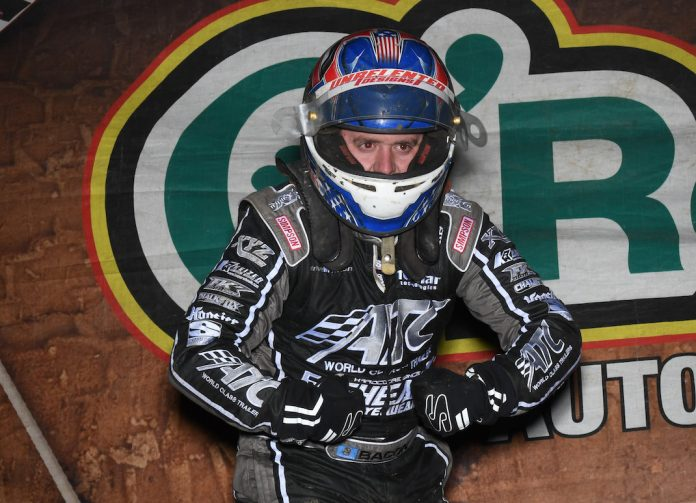 Brady Bacon in victory lane at Bubba Raceway Park. (Max Dolder photo)