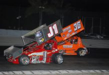 Eventual winner Troy DeCaire (36) battles Mike Tharp (J1) at 417 Speedway. (David Sink photo)