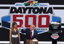President Donald Trump points to the sky prior to the Daytona 500 at the Daytona Int'l Speedway. (HHP/Tom Copeland Photo)