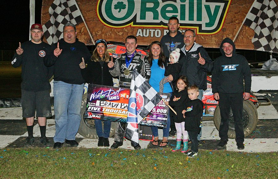 Brady Bacon poses in victory lane after winning Friday's USAC AMSOIL National Sprint Car Series feature at Bubba Raceway Park. (Todd Ridgeway Photo)