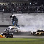 Ryan Newman's No. 6 Ford flies through the air after being hit by the No. 32 Ford driven by Corey LaJoie on the final lap of Monday's Daytona 500. (Dave Moulthrop Photo)