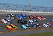 Joey Logano (22), Quin Houff (00) and Chase Elliott (9) lead the pack during the Daytona 500. (Dave Moulthrop Photo)