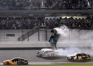 Ryan Newman's car flies through the air after being hit by Corey LaJoie on the final lap of the Daytona 500. (Dave Moulthrop Photo)