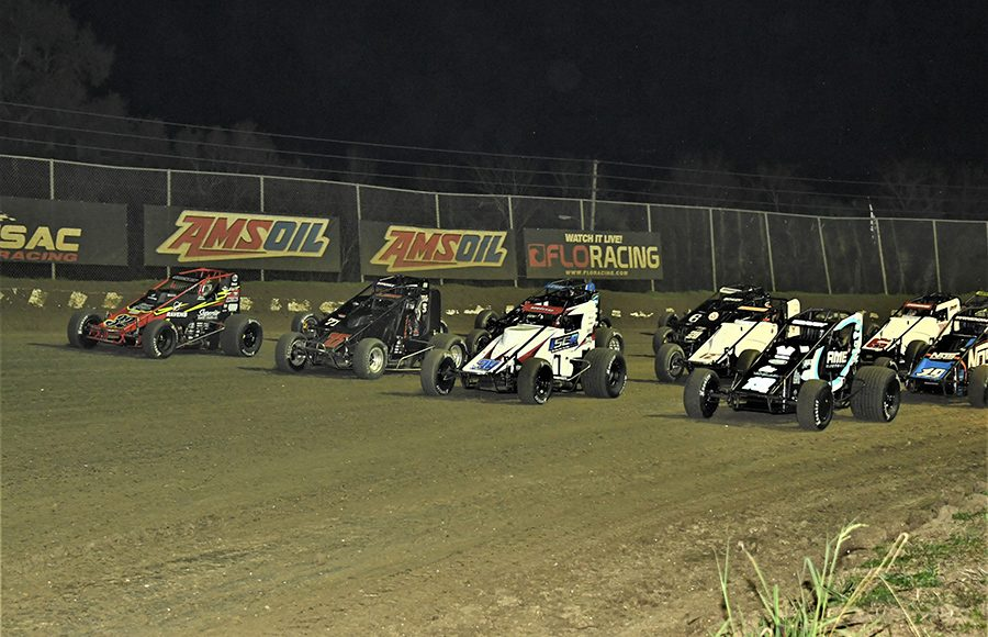 The field for Saturday's USAC AMSOIL National Sprint Car Series feature prepares to go racing at Bubba Raceway Park. (Al Steinberg Photo)