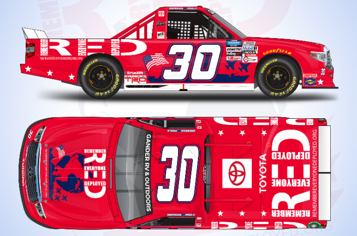 R.E.D. (RememberEveryoneDeployed.org) will sponsor Brennan Poole and On Point Motorsports in eight events.