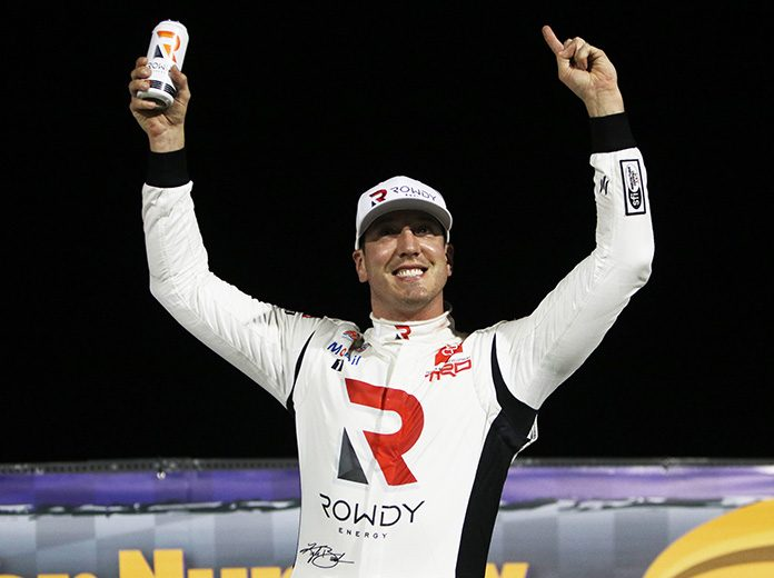 Kyle Busch celebrates his victory in Thursday's late model event at The Bullring at Las Vegas Motor Speedway. (Barry Ambrose Photo)