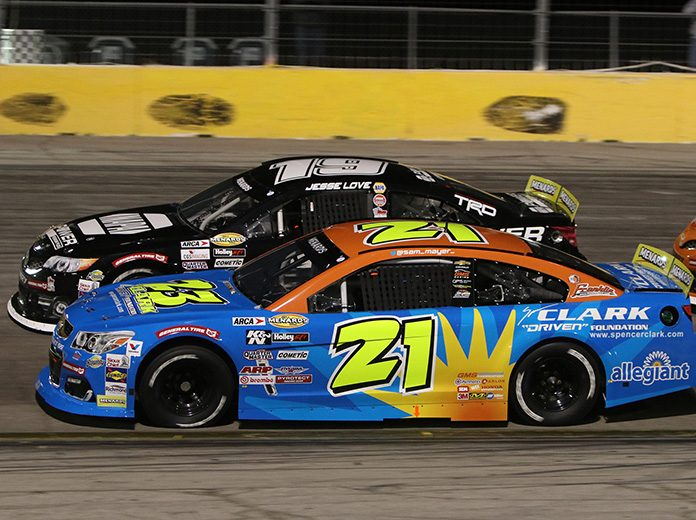 Sam Mayer (21) bested Jesse Love to win Thursday's ARCA Menards Series West opener at The Bullring at Las Vegas Motor Speedway. (Barry Ambrose Photo)