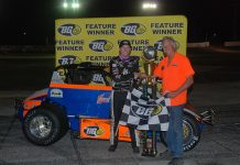 Kody Swanson in victory lane Thursday at Showtime Speedway. (David Sink Photo)