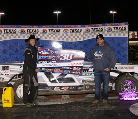 Faster by a fraction of a second, Westin Abbey edged Ryan Powers to the rich IMCA Sunoco Stock Car Dirty 30 checkers Thursday night at Texas Motor Speedway. (Stacy Kolar Photo)