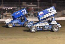Mitchell Faccinto (37) races past Keith Day Jr. at California's Keller Auto Speedway. (Joe Shivak photo)