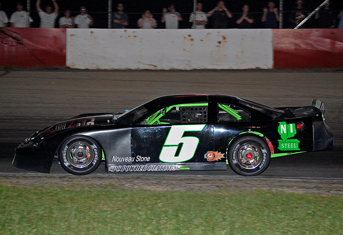 Brett Sontag and his No. 5 late model dominated the action at Grundy County Speedway in 2010. (Stan Kalwasinski Photo)