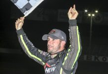 Doug Coby in victory lane in Seekonk. (Dick Ayers Photo)