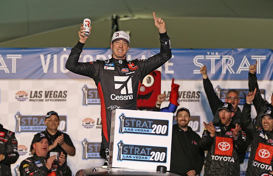 Kyle Busch celebrates after winning Friday's NASCAR Gander RV & Outdoors Truck Series race at Las Vegas Motor Speedway. (NASCAR Photo)