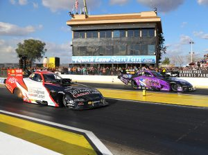 Tommy Johnson Jr. (left) bested Jack Beckman in the Funny Car final during the NHRA Arizona Nationals. (Ivan Veldhuizen Photo)