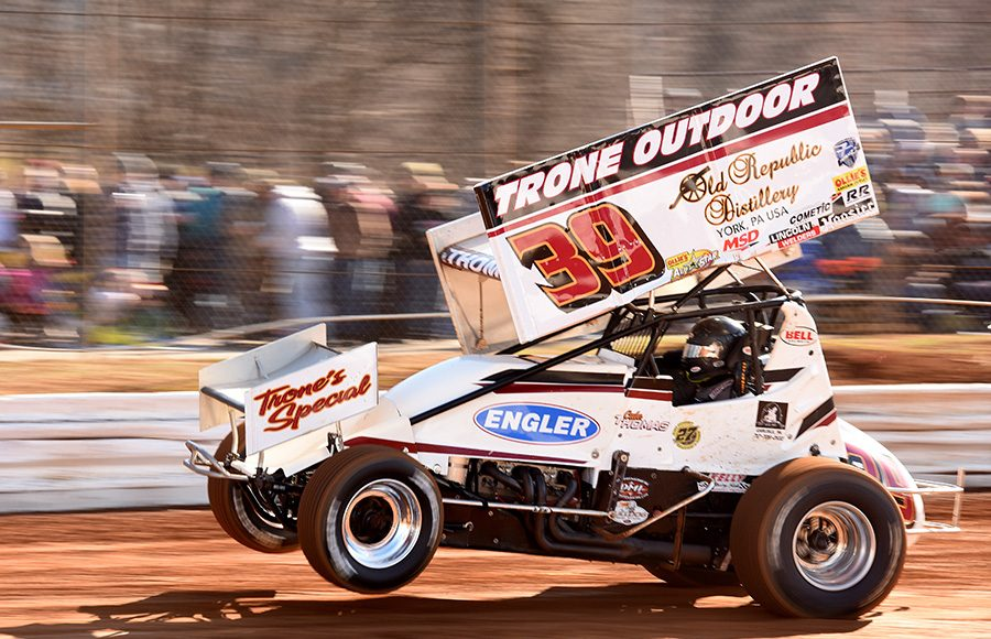Cale Thomas during Saturday's Ice Breaker event at Lincoln Speedway. (Paul Arch Photo)