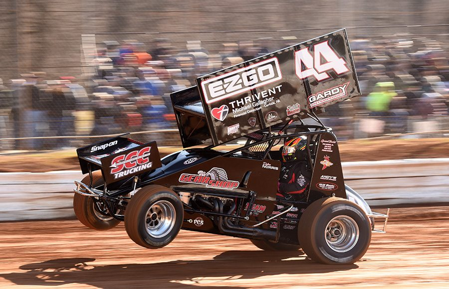 Dylan Norris during Saturday's Ice Breaker event at Lincoln Speedway. (Paul Arch Photo)