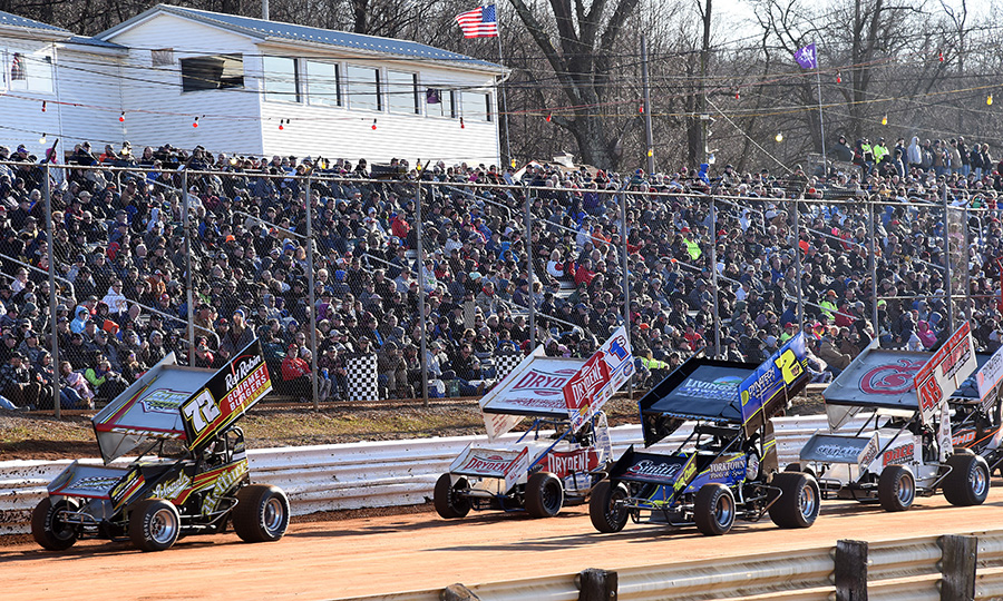 Glenndon Forsythe (2) and Ryan Smith (72) lead the field prior to the start of Saturday's Ice Breaker feature at Lincoln Speedway. (Paul Arch Photo)