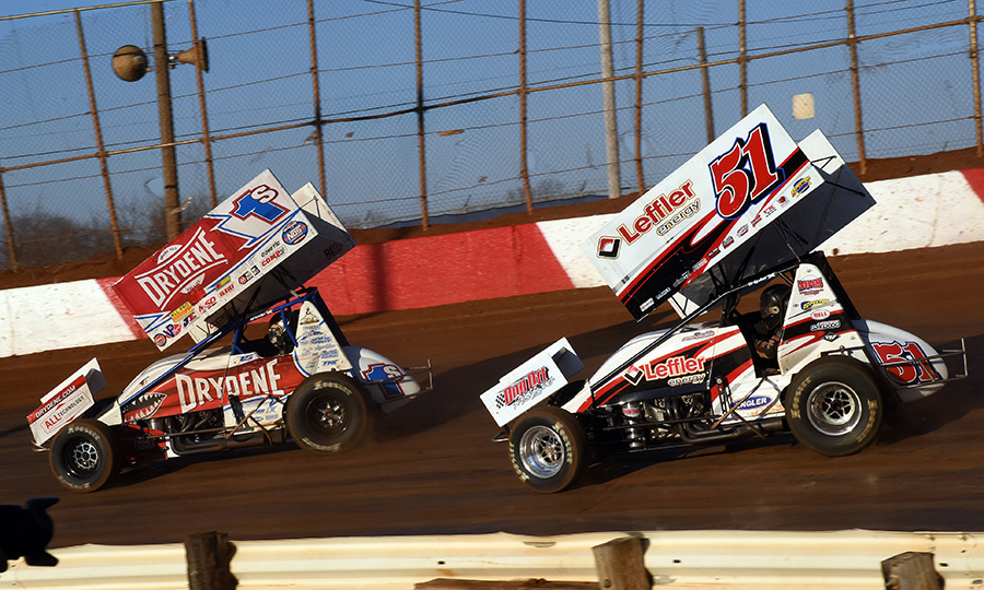 Freddie Rahmer (51) chases Logan Schuchart during Saturday's Ice Breaker event at Lincoln Speedway. (Paul Arch Photo)