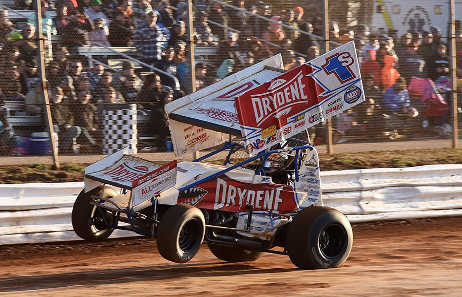Logan Schuchart pops a wheelie during Saturday's Ice Breaker event at Lincoln Speedway. (Paul Arch Photo)