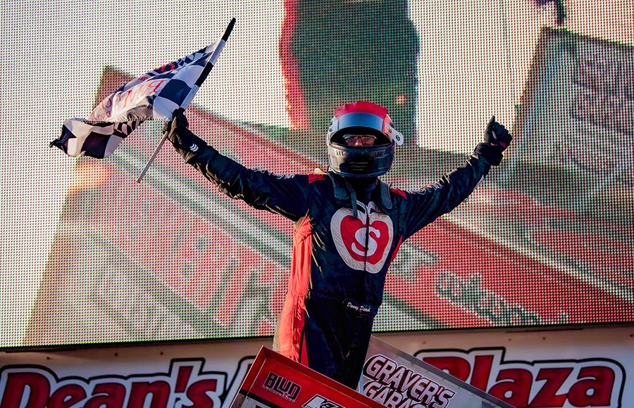 Danny Dietrich celebrates after winning Saturday's Ice Breaker feature at Lincoln Speedway. (Shawn Cooper Photo)