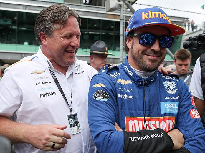 Fernando Alonso (right) and McLaren's Zak Brown (left) at Indianapolis Motor Speedway last year. Alonso is reuniting with McLaren for the 2020 Indianapolis 500. (IndyCar Photo)