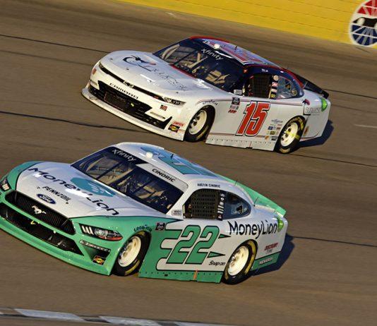 Austin Cindric (22) passes Robby Lyons during the NASCAR Xfinity Series Boyd Gaming 300 at Las Vegas Motor Speedway.(HHP/Alan Marler Photo)