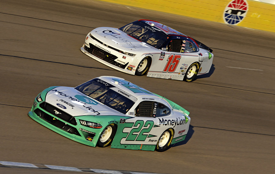 Austin Cindric (22) passes Robby Lyons during the NASCAR Xfinity Series Boyd Gaming 300 at Las Vegas Motor Speedway.(HHP/Alan Marler Photo)