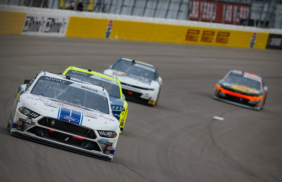 Chase Briscoe leads the pack during the NASCAR Xfinity Series Boyd Gaming 300 at Las Vegas Motor Speedway. (HHP/Chris Owens Photo)