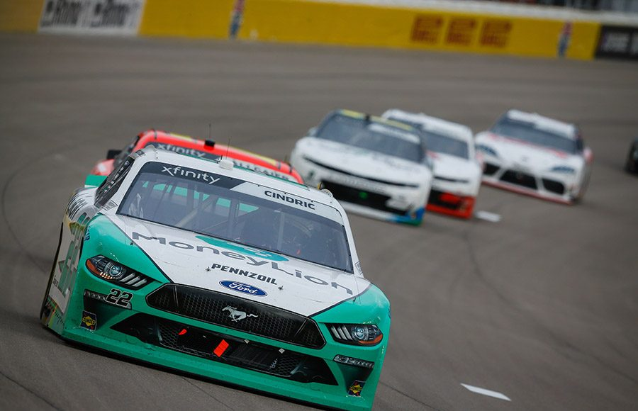 Austin Cindric leads a group of competitors during the NASCAR Xfinity Series Boyd Gaming 300 at Las Vegas Motor Speedway. (HHP/Chris Owens Photo)