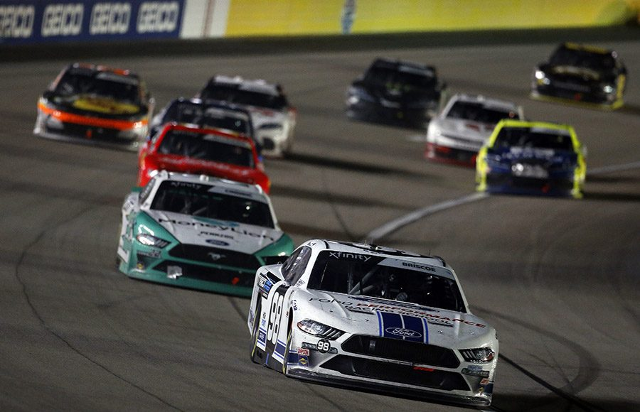 Chase Briscoe (98) leads the pack during the NASCAR Xfinity Series Boyd Gaming 300 at Las Vegas Motor Speedway. (NASCAR photo)